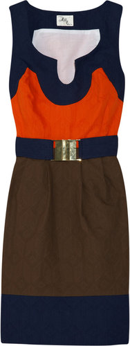Milly Imara color-block textured-cotton dress