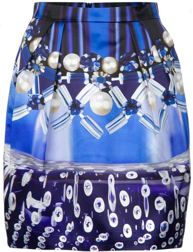 Mary Katrantzou 'Check Foam' tulip skirt