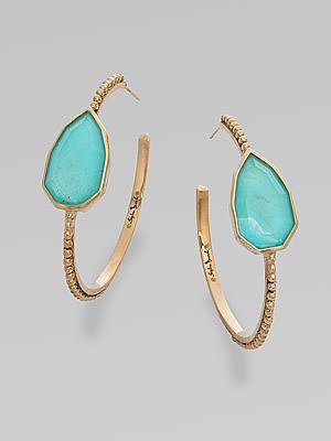 Stephen Dweck Turquoise Doublet Hoop Earrings/112&quot;