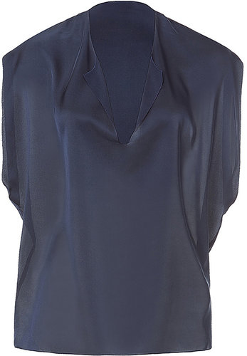 VINCE Night Blue Silk Top