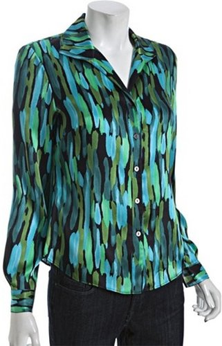 Lafayette 148 New York black brushstroke print silk wing collar blouse