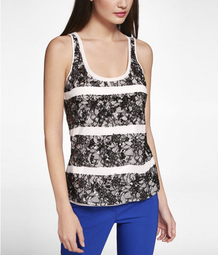 Embellished Lace Striped Tank
