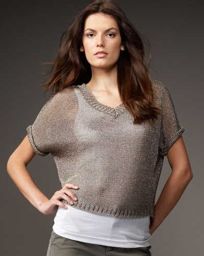 Vince Metallic Cropped Sweater