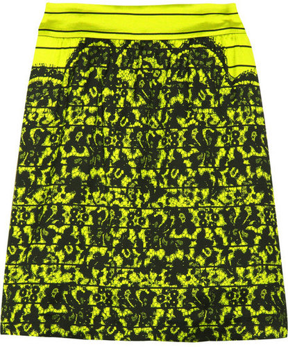 Tibi Lace-print silk-blend skirt
