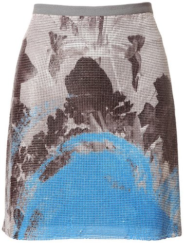 Christopher Kane p[rinted chainmail and wool skirt