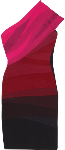 Hervé Léger One-shoulder ombré bandage dress