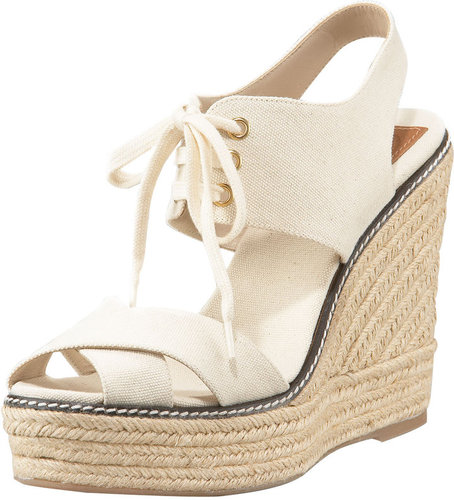 Tory Burch Lace-Up Espadrille Wedge