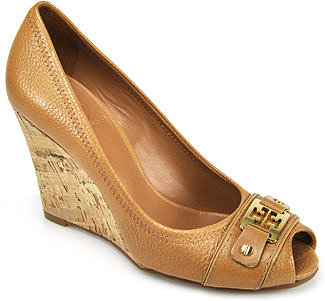 Tory Burch - Carnell - Tan Leather Cork Peep Toe Wedge