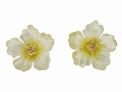 Alexis Bittar Flora Primrose Clip Lucite Earrings - Pale Yellow