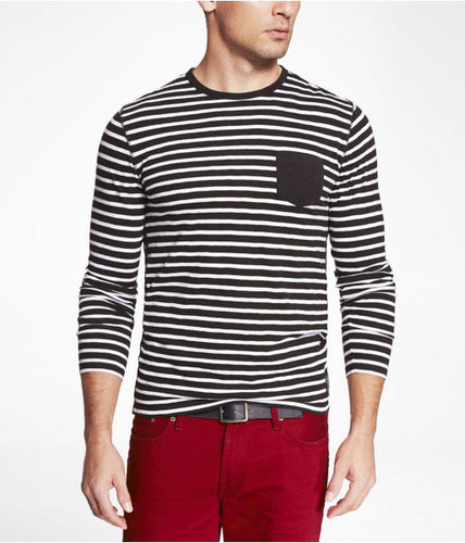 Slub Striped Long Sleeve Crew Neck Pocket Tee