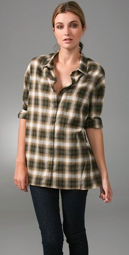 Vince Plaid Trapeze Top