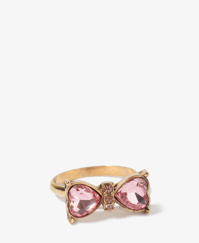 FOREVER 21 Rhinestoned Heart Bow Ring