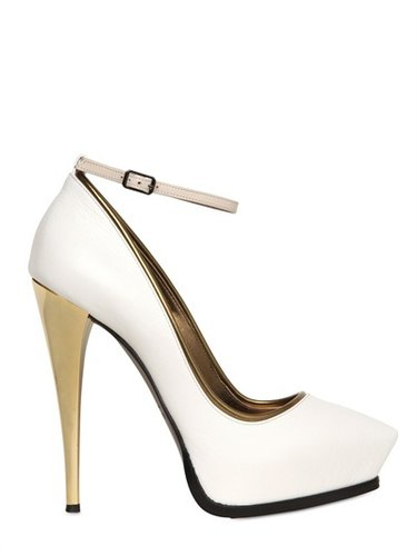 130mm Mirrored Heel Leather Pumps
