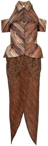 Rodarte Optic wood peplum dress