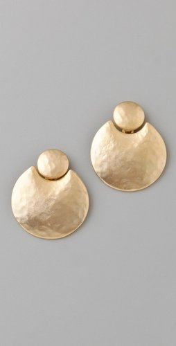 Kenneth Jay Lane Satin Gold Door Knocker Earrings