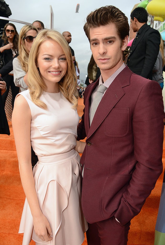 Emma Stone and Andrew Garfield posed on the orange carpet on the way into the 2012 show.