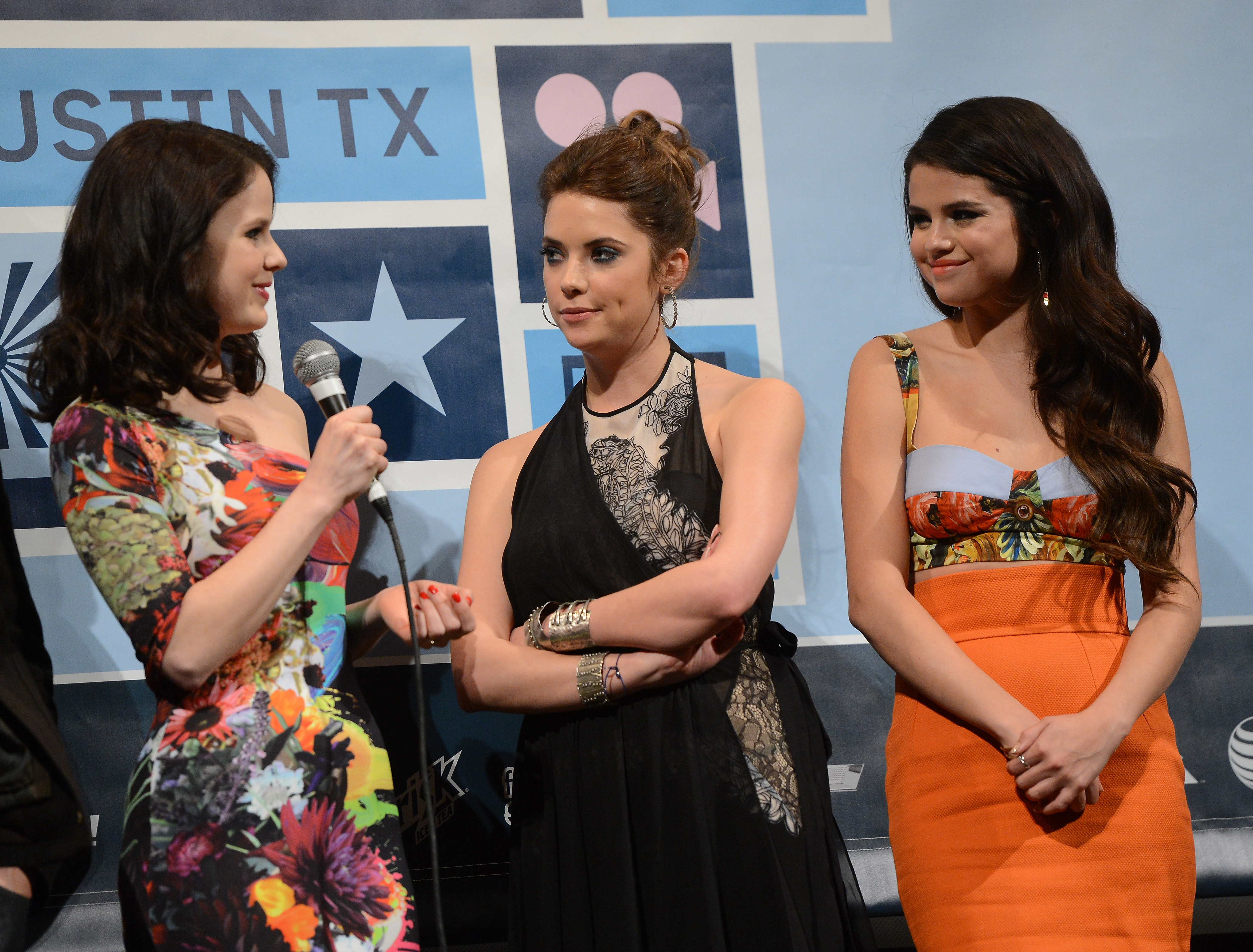Rachel Korine, Ashley Benson, and Selena Gomez attended a Spring Breakers Q&A together.