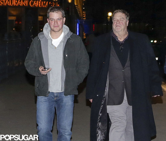 Matt Damon and John Goodman walked together after dinner.