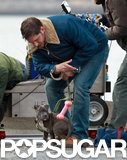 Tom Hardy played with the dog on set.
