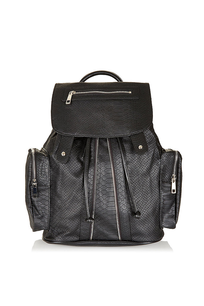 Show off your sophisticated side thanks to the snakeskin print of this  Topshop snake Zippy backpack ($72).
