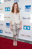 Jayma Mays was fresh in floral bottoms and a biker-style jacket at the 4th Annual Milk + Bookies celebration in LA.