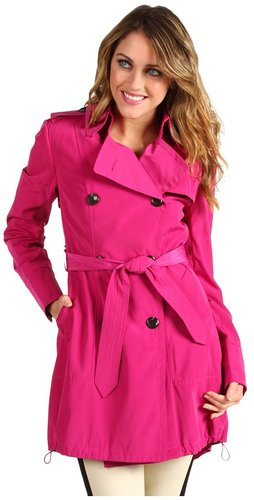 Vince Camuto - Double Breasted Trench w/ Drawstring Hem (Fuchsia) - Apparel