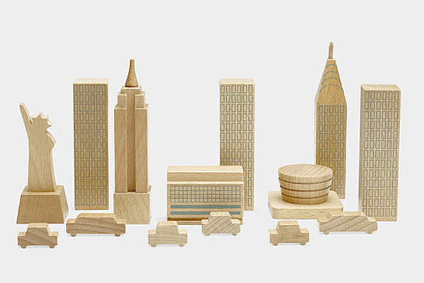It's New York in a bag. Bring the city's skyline to your desk with these wooden structures ($18) that include eight city shapes and six wooden cars.