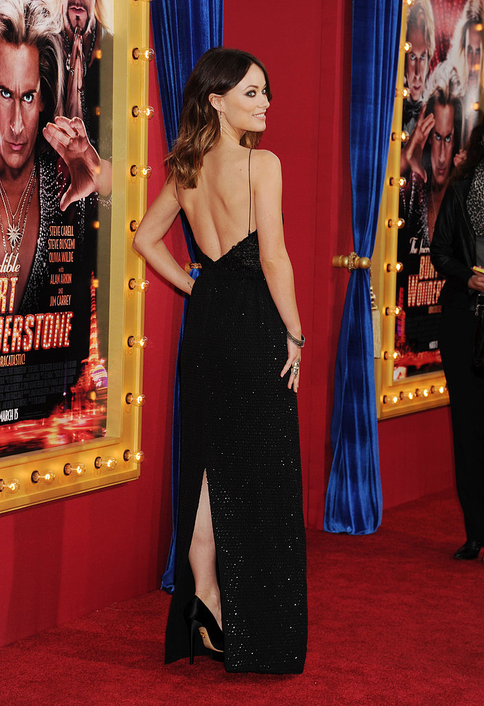 Olivia showed off the gown's back-baring detail.