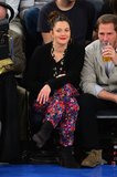 Drew Barrymore's floral-print pants and sweep of bright lipstick stole the show during a January 2013 Knicks game.