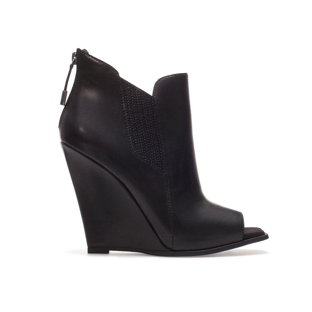 Swap out your Winter black boots for these Zara peep-toe wedge ankle boots ($80). It's an edgier alternative that's easy to experiment with, thanks to a budget-friendly price and a walkable wedge.