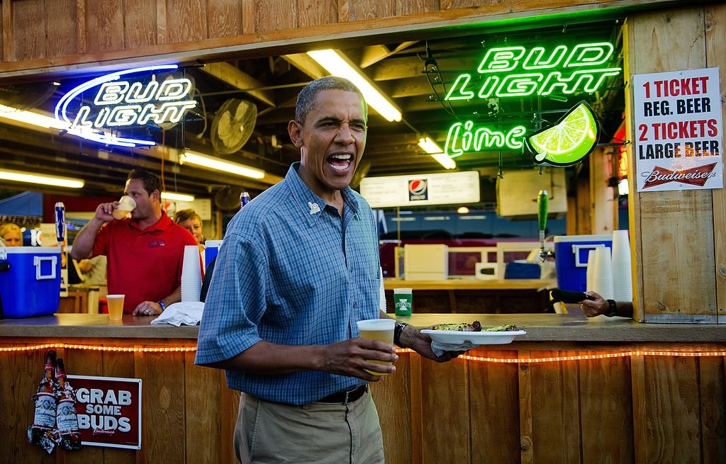In Des Moines, IA, Obama had some beer with his pork chops during a 2012 campaign stop.