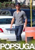 Taylor Lautner headed to the batting cages.