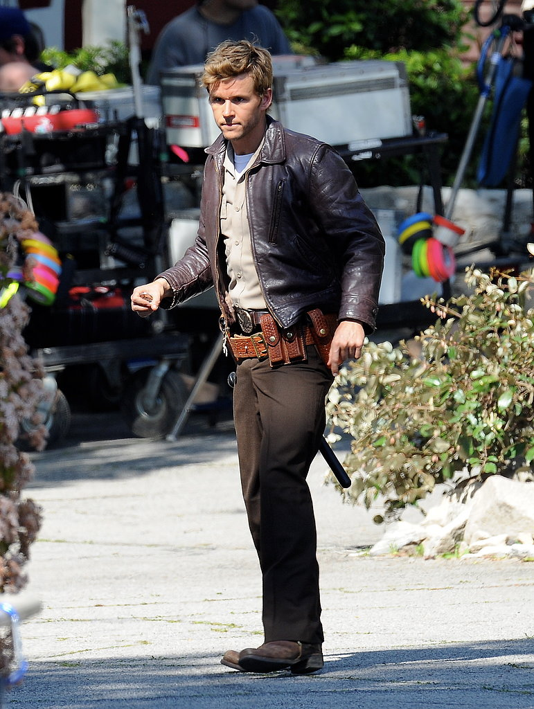 Ryan Kwanten stepped into action on set.