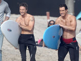 Mark-Paul Gosselaar and Breckin Meyer were shirtless on the beach in Malibu, CA, to film scenes for their TNT show Franklin & Bash.