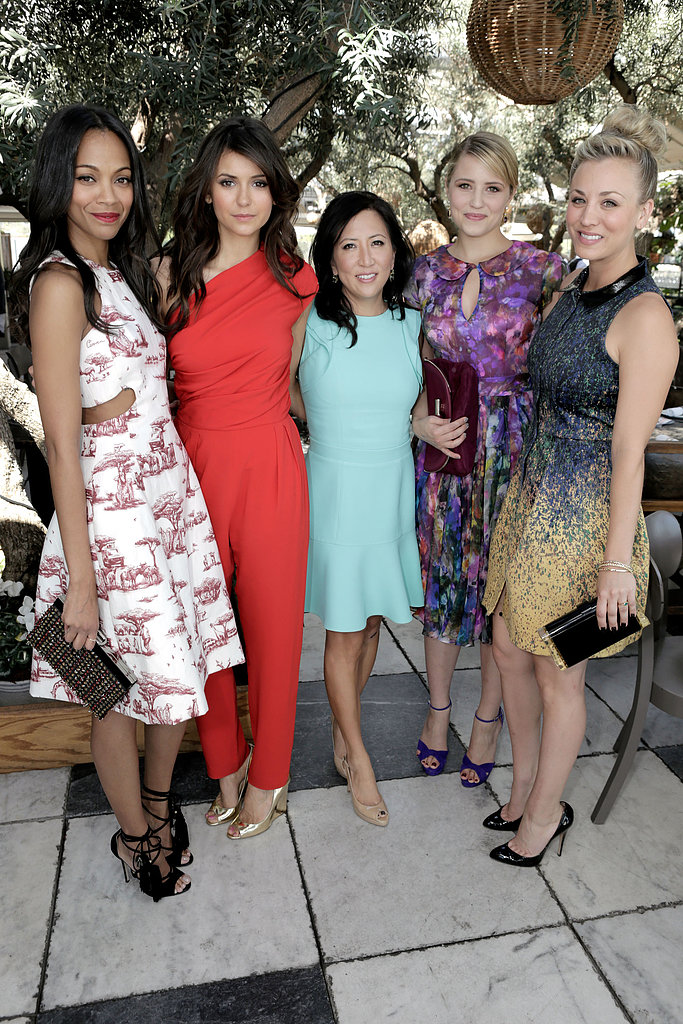 Zoe Saldana, Nina Dobreb, Kaley Cuoco, and Dianna Agron all posed with editor Janice Min from The Hollywood Reporter.