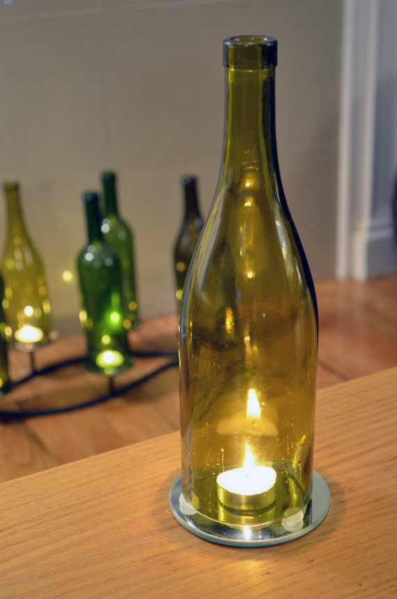 Candle topper reduce rebooze recycle 10 creative uses for How to cut the bottom off a wine bottle easily