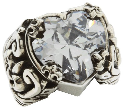 King Baby Studio - Clear CZ Heart Ring (Sterling Silver) - Jewelry