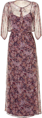 Ella Moss Raspberry Multi Color Printed Silk Maxi Dress
