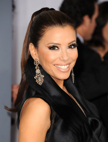 Eva worked the Grammys red carpet in 2011 with a slicked-back ponytail with plenty of volume. She went with a bronzed makeup palette complete with plenty of false lashes.