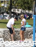 Michael Bublé Takes Luisana and Her Baby Boy Bump For a Sandy Stroll
