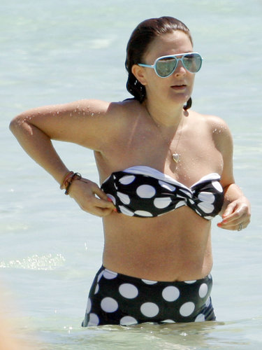 Drew Barrymore wore a retro polka-dot bikini during a March girls' getaway in Mexico.