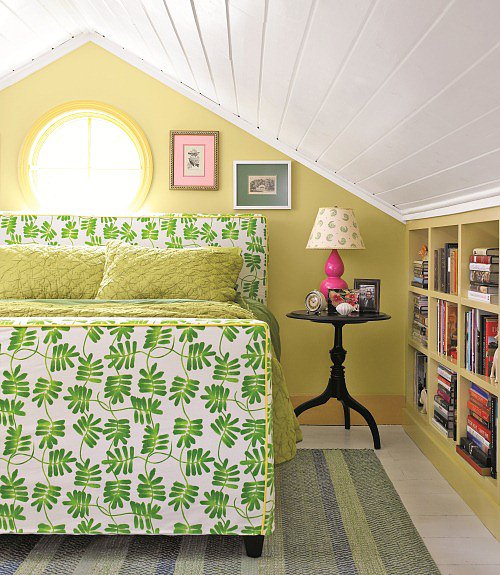 A green-patterned fabric lends itself to become the main statement of this bedroom retreat.   Source: Lucas Allen for Country Living