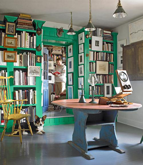 Incorporating bright shades of color like this green built-in makes a fun accent wall and adds a modern twist to this country farmhouse.  Source: Gridley + Graves for Country Living