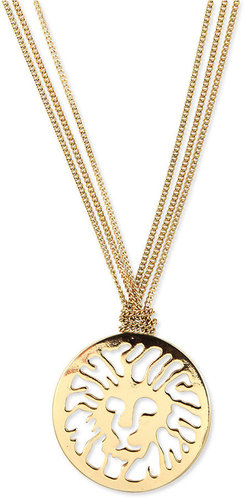 Anne Klein Necklace, Gold-Tone Lion's Head Long Pendant Necklace