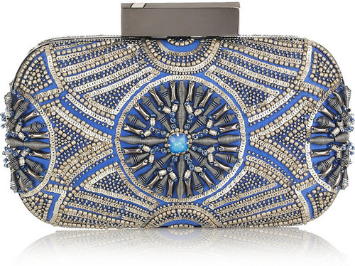 Matthew Williamson Embellished satin clutch
