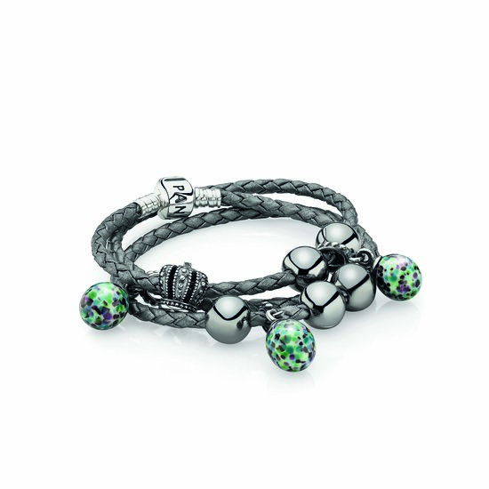 PANDORA triple leather bracelet $79, Murano glass drops $45 each and silver charms from $35 each.