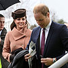Kate Middleton Brown Hat, Tan Coat; Prince William At Races