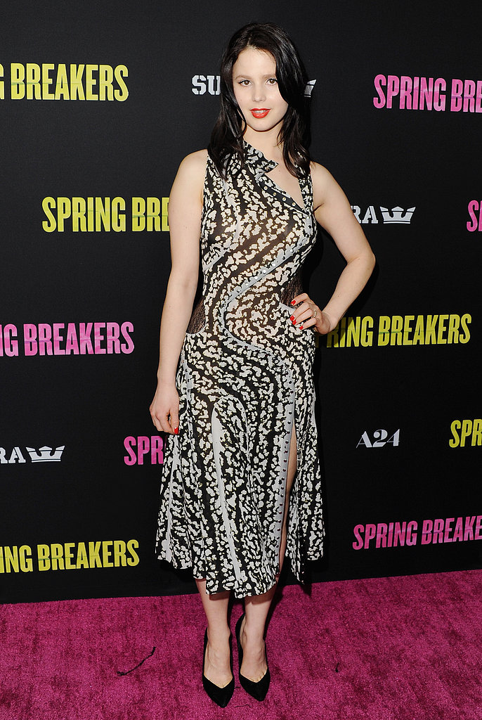 Rachel Korine wore a patterned frock.