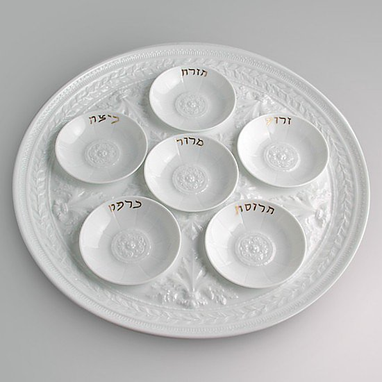 Restrained and refined, this set of six mini seder plates ($160) matches the Louvre pattern from the esteemed porcelain manufacture Bernardaud.