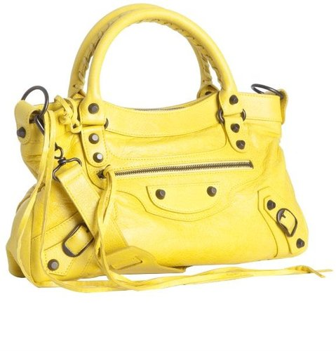 Balenciaga yellow lambskin 'First' top handle bag